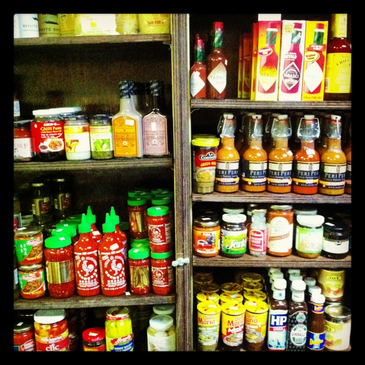 Cristina's Spice Shop's Wall of Sauces
